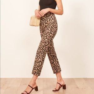 Reformation High Waisted Leopard Marlon Pant